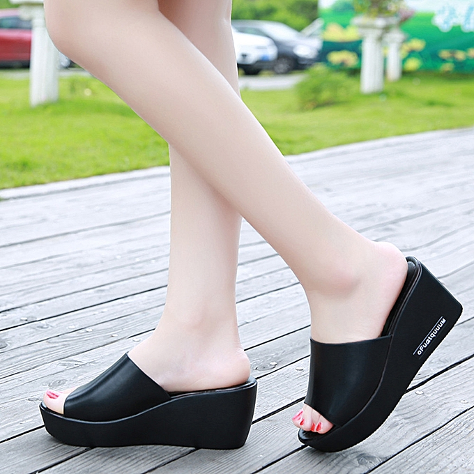 86911aebf0ee Casual Women Fish mouth Platform High Heels Sandals Slope Sandals Slippers