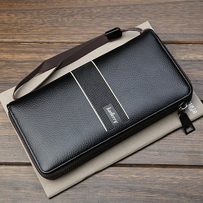 New Baellerry Men's Long Type PU Leather Zipper Wallet Multi-functional Holder Black