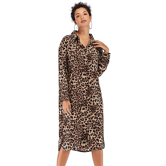 Fashion Women Long Shirt Dress Leopard Print Turn-down Collar Button Long  Sleeve Sexy Dress 97fe9f0b27