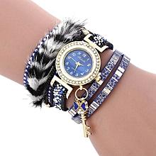 Female Quartz Feather Bracelet Watch-BLUE