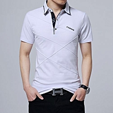 Men's Plus Cross Line Argyle Polo Shirt (White)