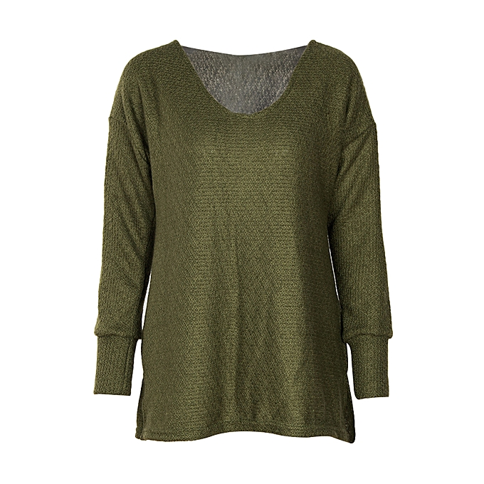 25e6eef78 Womens Sweaters Oversized V Neck Loose Knit Pullover Long Batwing Sleeve  Tops - Green