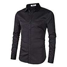 MrWonder Men's Bamboo Fiber Dress Shirt Slim Fit Button Down Long Sleeve Casual Shirts Color:Black Size:XL