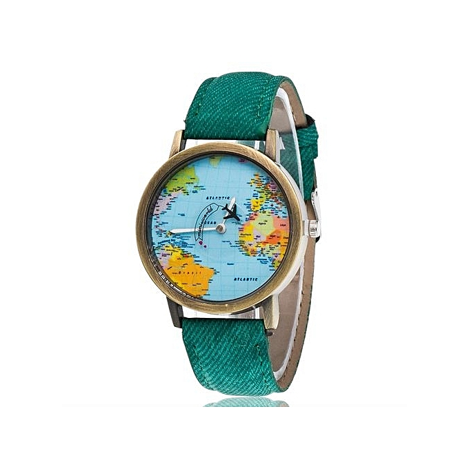 Buy bluelife unisex vintage world map quartz watch green best unisex vintage world map quartz watch green gumiabroncs Gallery
