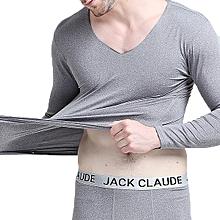 Mens Seamless V-neck Bottoming Thermal Long Johns Underwear Sleepwear Set