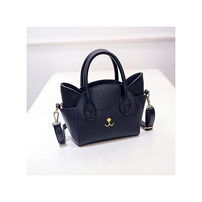 bluerdream-Women Cat Face Shoulder Bags Totes Handbag Messenger Bag  Crossbody Bag Black-Black 8cb8afa1ae4cc