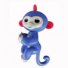 Cute Finger Toy Baby Monkey Toy Kids Gift with Flexible Head Arms Legs-Blue
