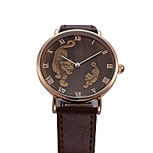 Fohting North Fashion Tiger Pattern Men Quartz Wrist Watch Leather Band Watch -