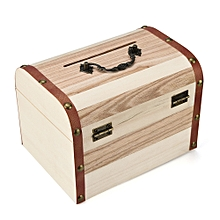 Wooden Piggy Bank Safe Money Box Savings With Lock Wood Carving Handmade