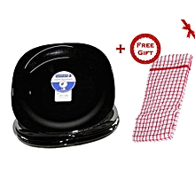 Dinner Plates - 6 Pieces - Black + FREE Gift Kitchen Towel.