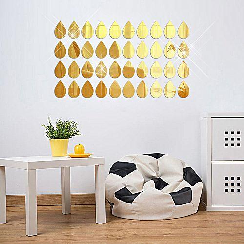50pcs 3d mirror raindrop vinyl removable wall sticker decal home decor art gd gold
