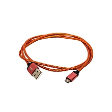 Universal - Micro Nylon Double Sided  Data Cable - USB 2.0 - 1M - Orange