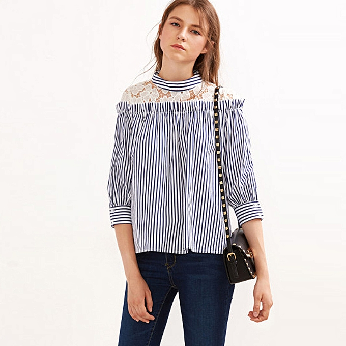 8c61e3cb44 Xingbiaocao Fashion Women Navy Vertical Striped T Shirt Lace Casual Blouse  M -Blue