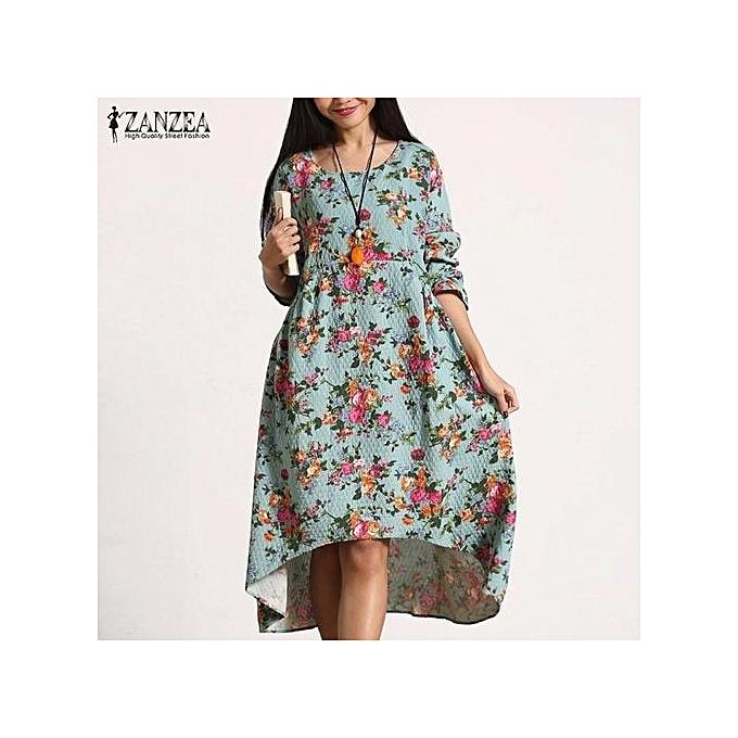 fb33fcd7c48 S-5XL ZANZEA Women's Round Neck Long Sleeve Vintage Floral Print Long Maxi  Dress (