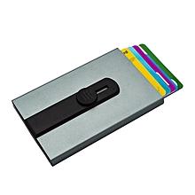 Credit Card Holder RFID Aluminum Credit Card Holder Automatic Pop-up Wallet - Silver