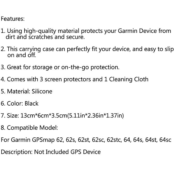 Silicone Case+Screen Protector For Garmin GPSmap 62 64 Handheld Navigator  Black