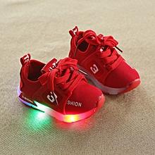 children mesh 3 fashion led flashing light running shoe red
