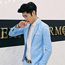 Royal Blue Korean Style Men Suit Coat Slim Suit Men's Jacket Solid Color Casual Men's Clothing Work And Office Jacket Coat (China Size)