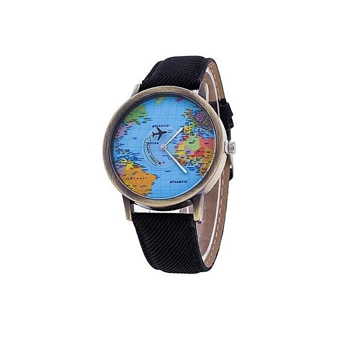 Buy generic men women watch world map design analog quartz watch bk men women watch world map design analog quartz watch bk gumiabroncs Images