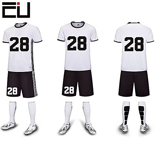 a5be2e384e6 Longo Customized Youth Men s Football Soccer Team Sports Shirts Shorts  Jersey-White(6109)