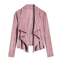 Faux Suede Zip Up Cropped Jacket - PINK