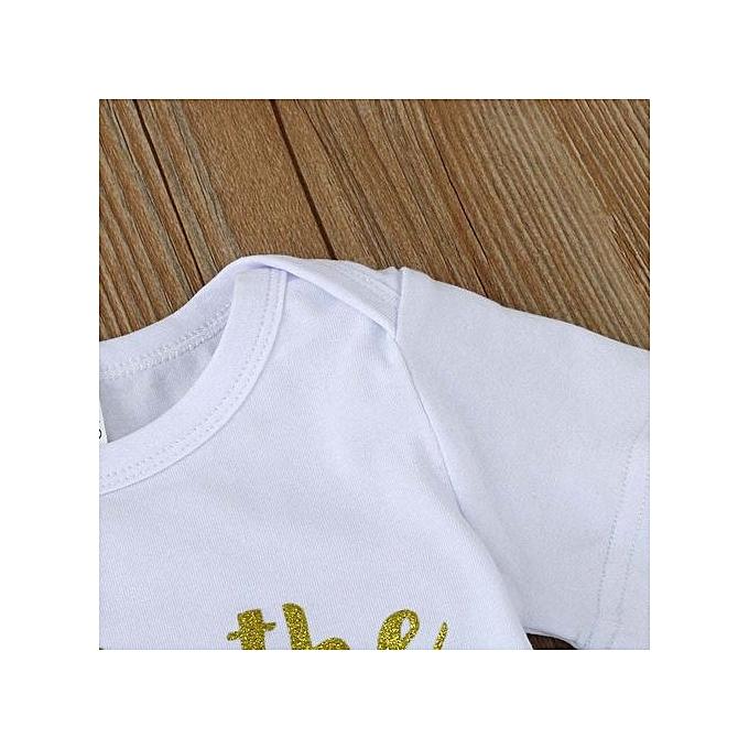 28f06d7224b2 ... 2PCS Kids Baby Girls Letters Short Sleeve Romper Jumpsuit+Skirt Set  Clothes 90 ...