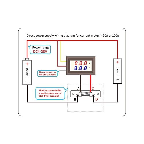 LED DC0~100V 10A Digital Voltmeter Ammeter Red/Blue Dual Color Display on