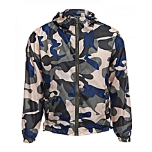 Camouflage Hooded Male Coat - Blue+Yellow