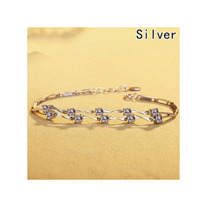 Tanson Women Fashion Crystal Diamond Bracelet Seven Flower Simple Starfish Double Bamboo