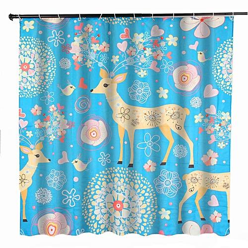 Generic 70x70 Waterproof Flower Deer Bathroom Shower Curtain 180x180cm W 12 Hooks Best Price