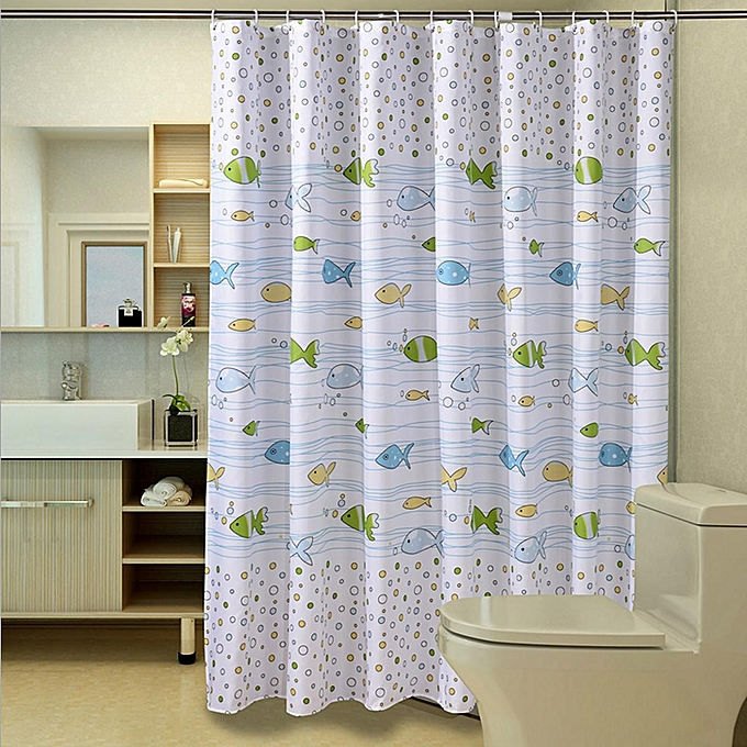 180x180cm Small Bubble Fish Bathroom Shower Curtain Waterproof Anti Mildew With 12 Hooks