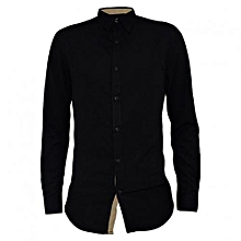 Black Men's casual buttoned down Shirts