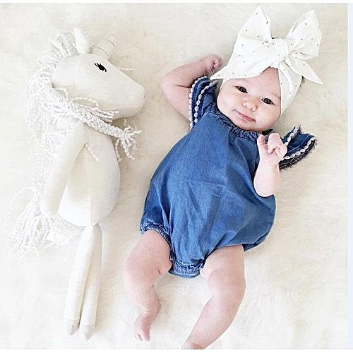 UNIVERSAL Super Fashion Baby Girl Denim Stylish Dress Jumpsuit Cute Romper  Triangle Pants a11d45e1fef7