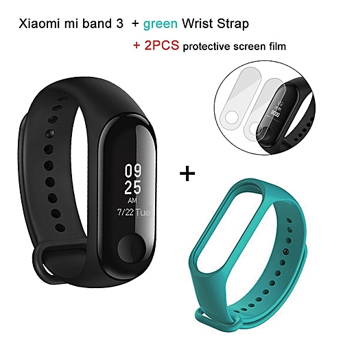 Mi band 3 OLED Heart Rate Monitor Bluetooth 4.2 Smart Bracelet+Green replacement band and 2 free screen protector