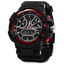 Men LED Digital Luminous Watch Outdoor Sport Dual Movt Wristwatch-RED WITH  BLACK d7bf663260c