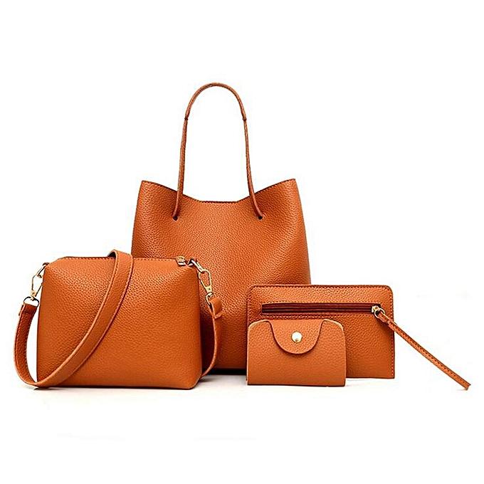 2042b8876ec5 4pcs Women Leather Handbag Lady Shoulder Bags Tote Purse Messenger Satchel  Set  brown