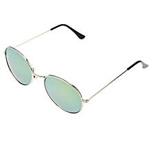 Oval Retro Uv400 Uv Protection Metal Frame Ac Lens Sunglasses (silver + Gold)