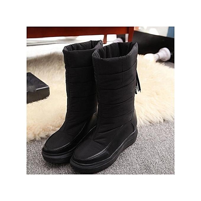 630cd3f6b1c ... bluerdream-Winter Warm Snow Boots Cotton Shoes Flat Heels Knee High  Boots Women Boots BK ...