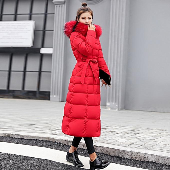 Buy Fashion Jiuhap Store Women Outerwear Fur Hooded Coat Long Cotton