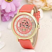 Leather Watch Women Dress Watches Men Luxury Brand Hollow Skeleton Watch(Rose)
