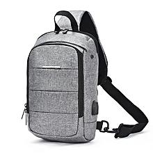 Men Oxford High-capacity Waterproof USB Chest Bag Leisure Crossbody Bag