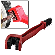 Motorcycle Bike Chain Tire Maintenance Cleaning Brush Tool Brake Dirt Remover Red