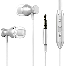 Earphone Headset In-line Control Magnetic Clarity Stereo Sound With Mic Earphones For IPhone Mobile Phone MP3 MP4 Silver