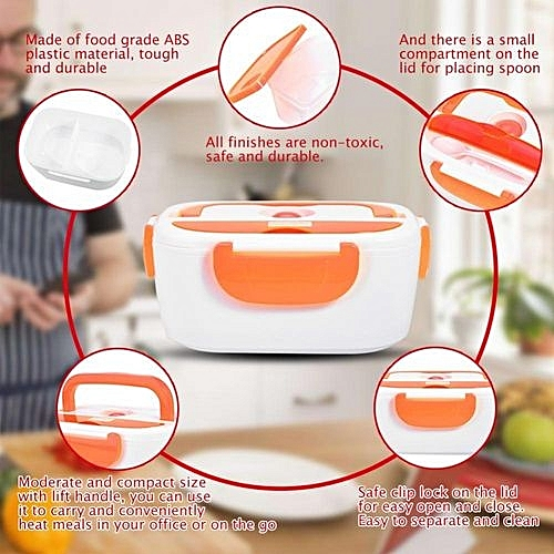 c9b7478f0445 Electric Heating Lunch Box Portable Food Container Home Office US Plug 110V