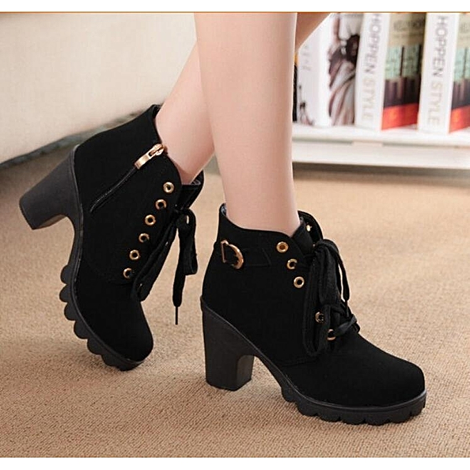 96535b82f642 Womens Platform Chunky High Heel Fur Lace Up Motorcycle Martin Ankle Boots  Shoes Black