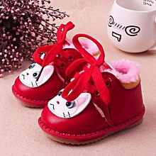 Baby Shoes Autumn Winter Warm Girl Boy Cartoon Shoes Warm Flock Walkers Boots- Red