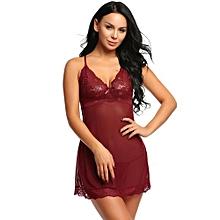 8e14c1222120 Women Sexy Lingerie Spaghetti Strap Lace Mesh Babydoll Chemise Sleepwear-Wine  Red