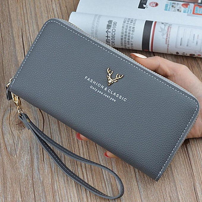 4131eed465fc High Grade Exquisite Logo Female Fashion Pure Color Boutique Long Wallet