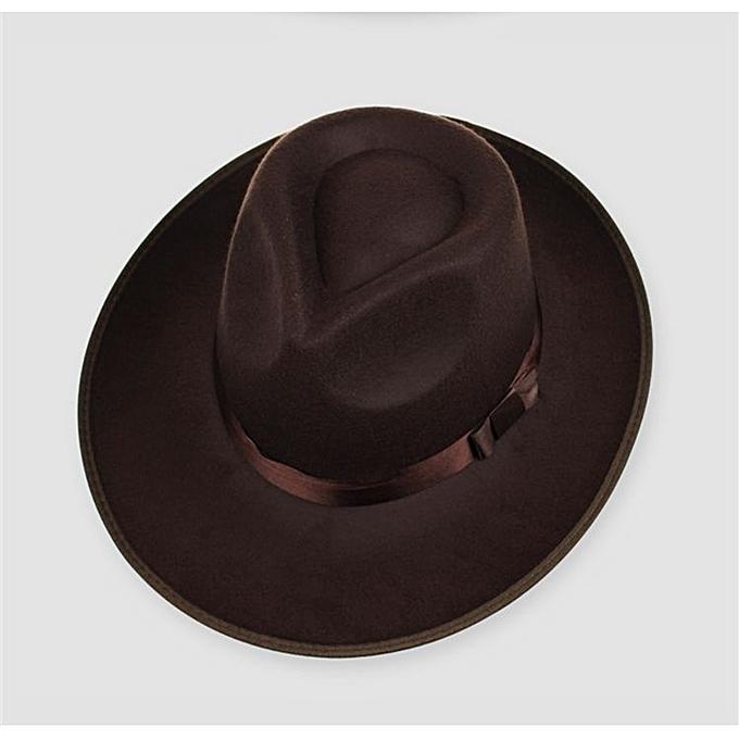 414a89a5e7d2 ... Vintage Men Women Hard Felt Hat Wide Brim Fedora Trilby Panama Hat  Gangster Cap ...