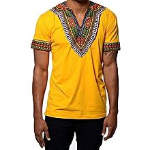 African dashiki  print  T-shirt - Yellow